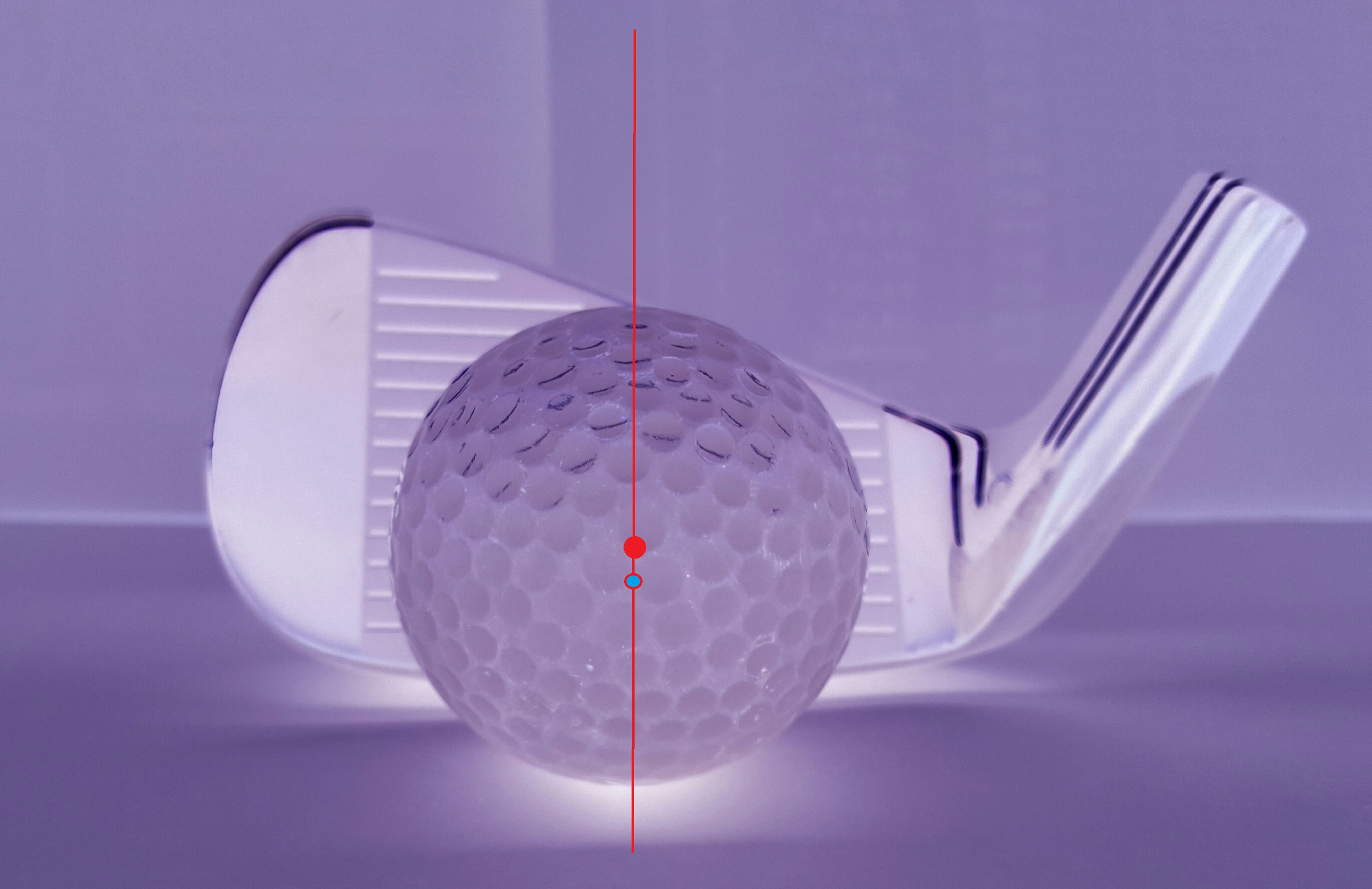 Golfisto_Czy_wiesz_czym_grasz / Rys. 2,Czerwony punkt Środek Ciężkości Piłki – SCP, Niebieski Środek Ciężkości Główki kija SCG.jpg